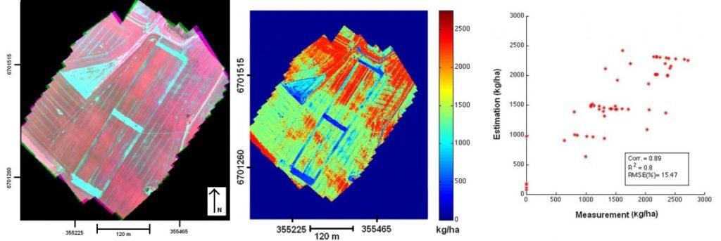 Tuloksia biomassaestimoinnista. Vasemmalla hyperspektriortokuva, keskellä biomassaestimaattikartta, oikealla mitatun ja estimoidun biomassan korrelaatio.